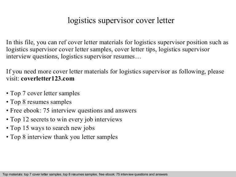 Logistics supervisor cover letter – Logistics Supervisor Job Description