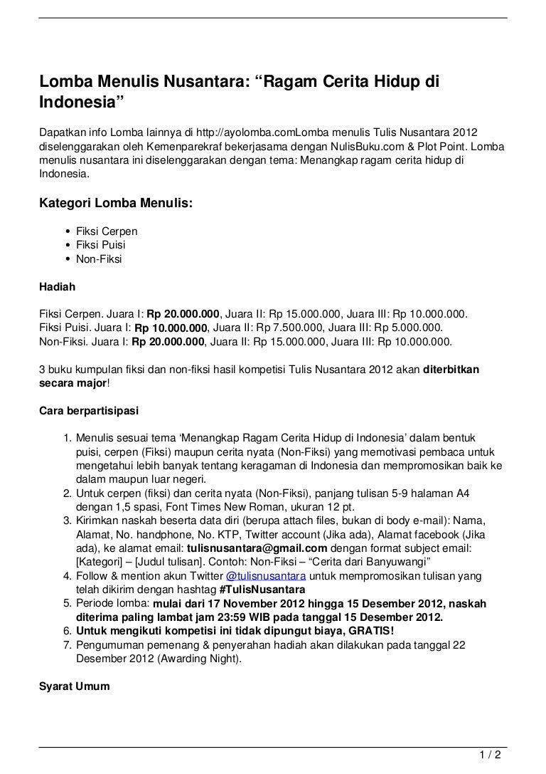 Lomba Menulis Nusantara 8220 Ragam Cerita Hidup Di Indonesia 8221