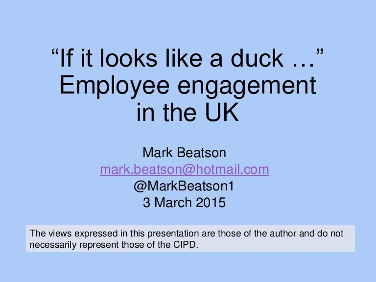 Employee engagement in the UK