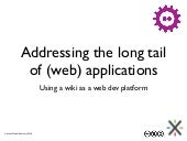 Addressing the long tail of (web) applications