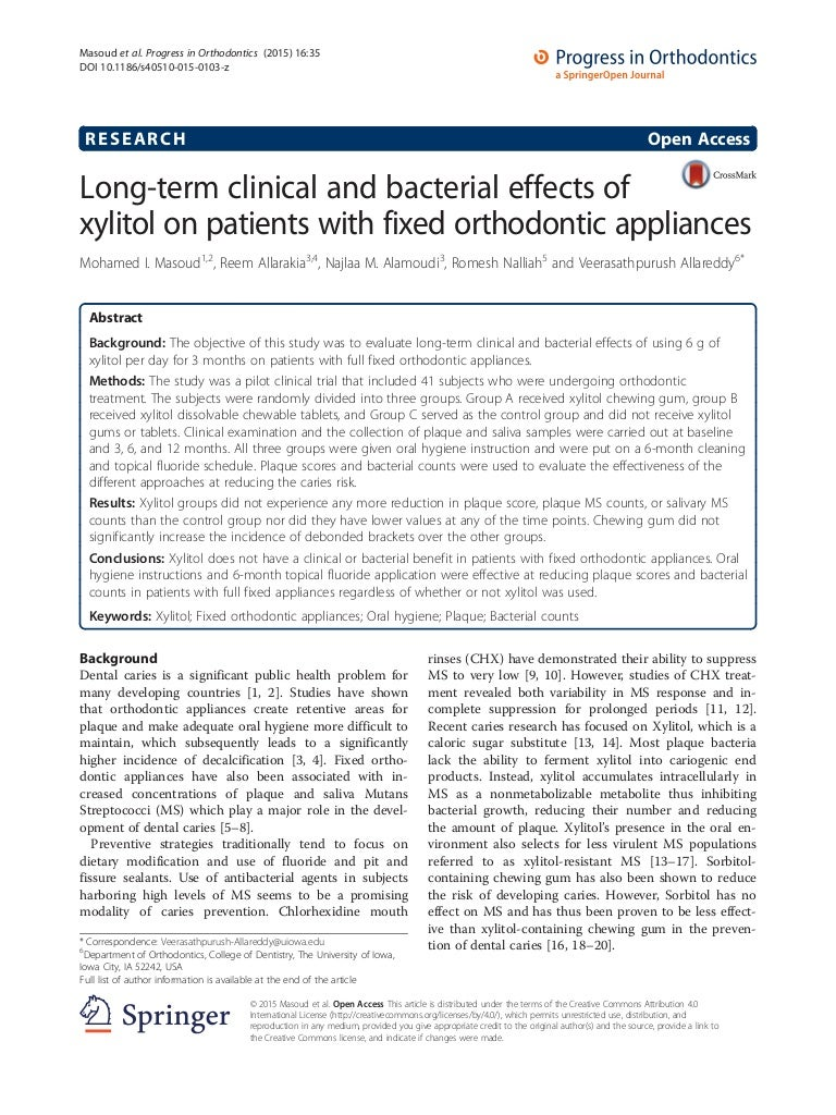 Long term clinical and bacterial effetcx of xylitol on paitnets with nvjuhfo Images