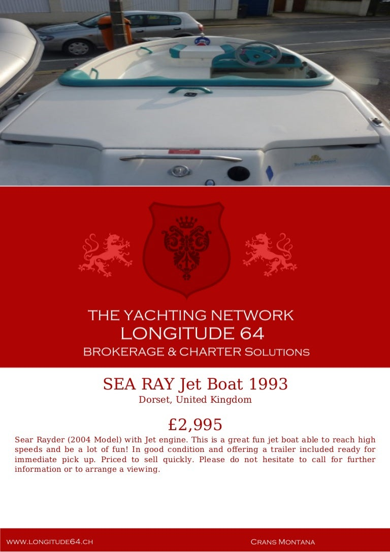 SEA RAY Jet Boat, 1993, £2,995 For Sale Yacht Brochure  Presented By …