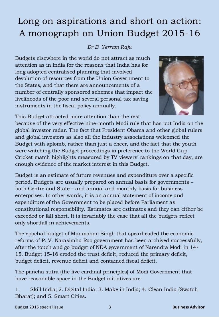 Full Union Budget 2015-16 Pdf