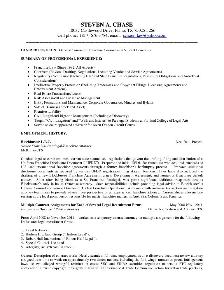 litigation attorney resumes - Contract Attorney Resume Sample