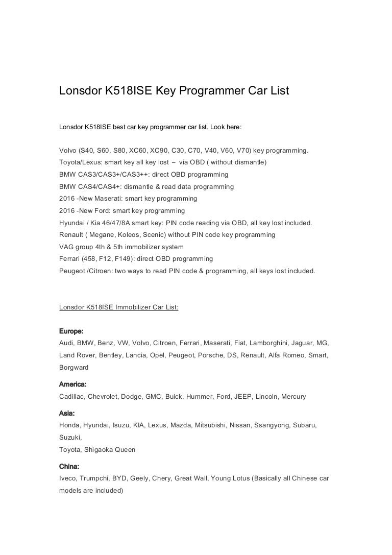 Lonsdor k518ise-key-programmer-car-list