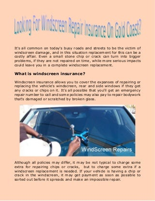Looking for windscreen repair insurance on gold coast