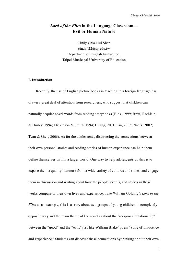 essay about nature lord of the flies in the language classroom evil or human nature lordofthefliesinthelanguageclassroomevilorhumannature phpapp byu admission essay