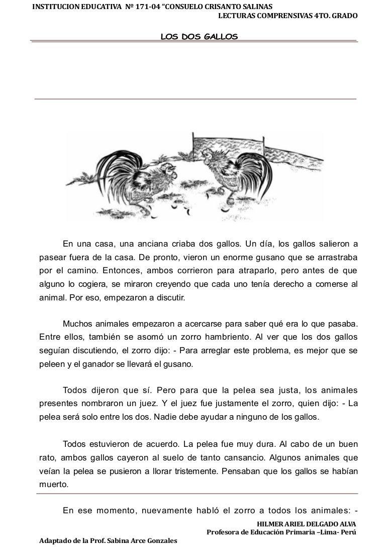 Lectura con Comprensión Lectora : Los dos-gallos