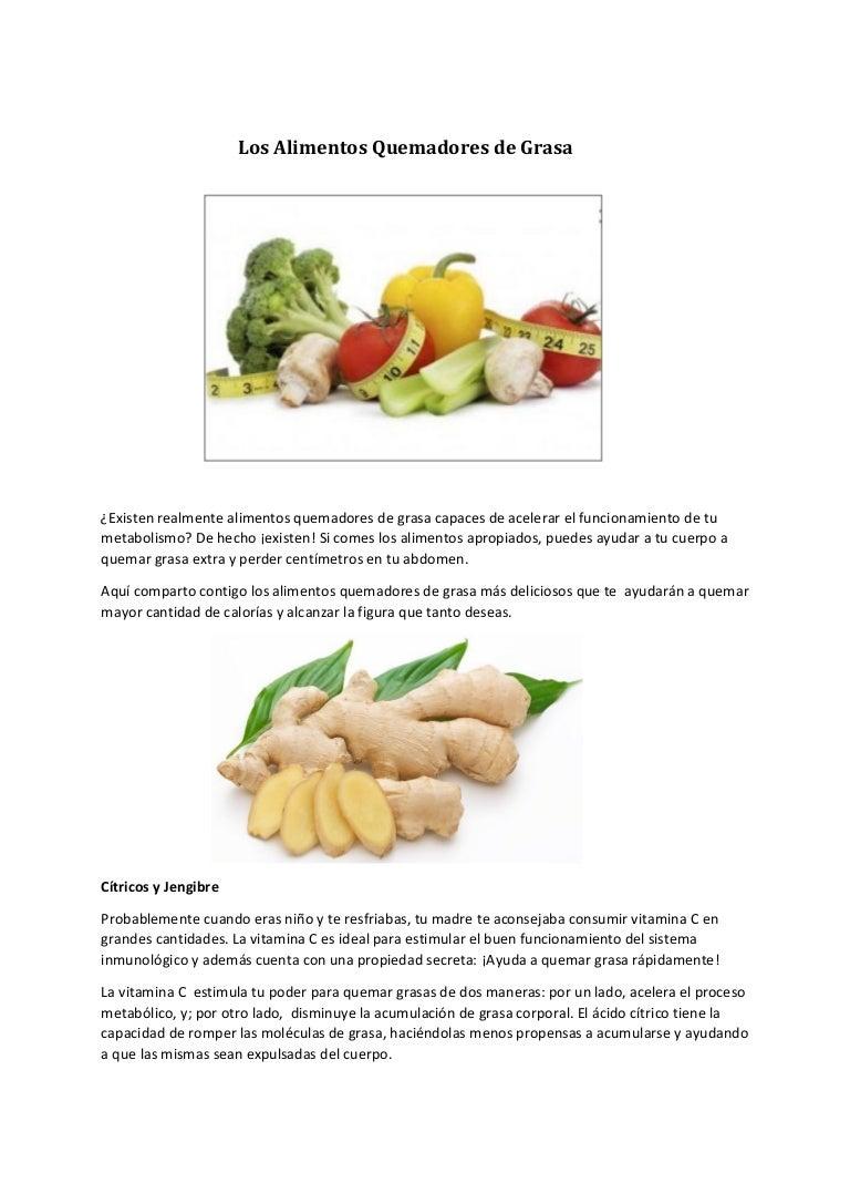 Alimentos para quemar grasa mas rapido