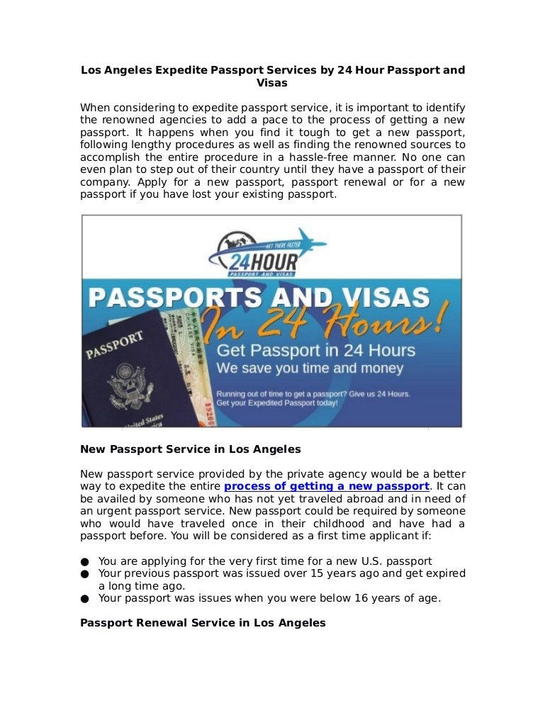 Fastest way to get a passport in los angeles