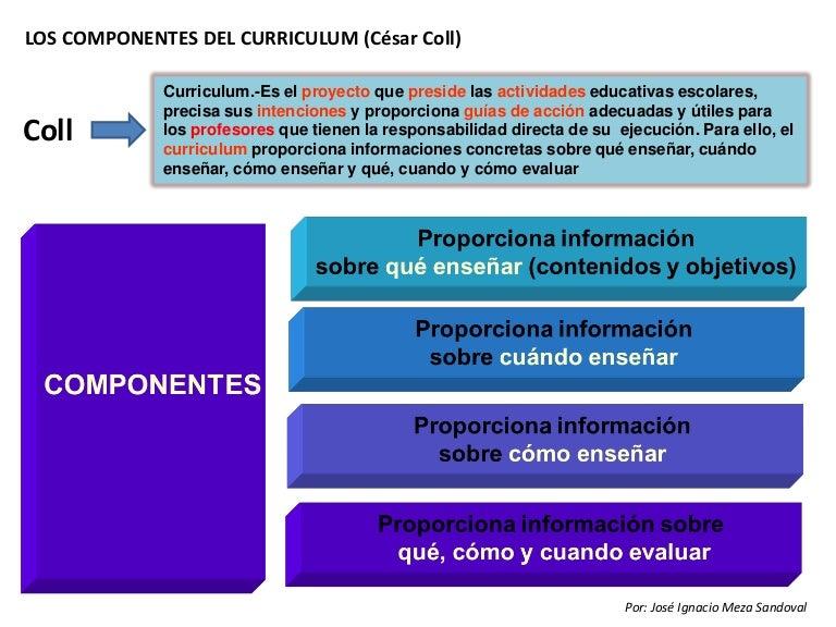 Los componentes del currículum. césar coll