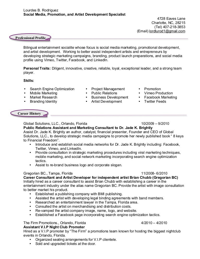 Event Promoter Resume Sample