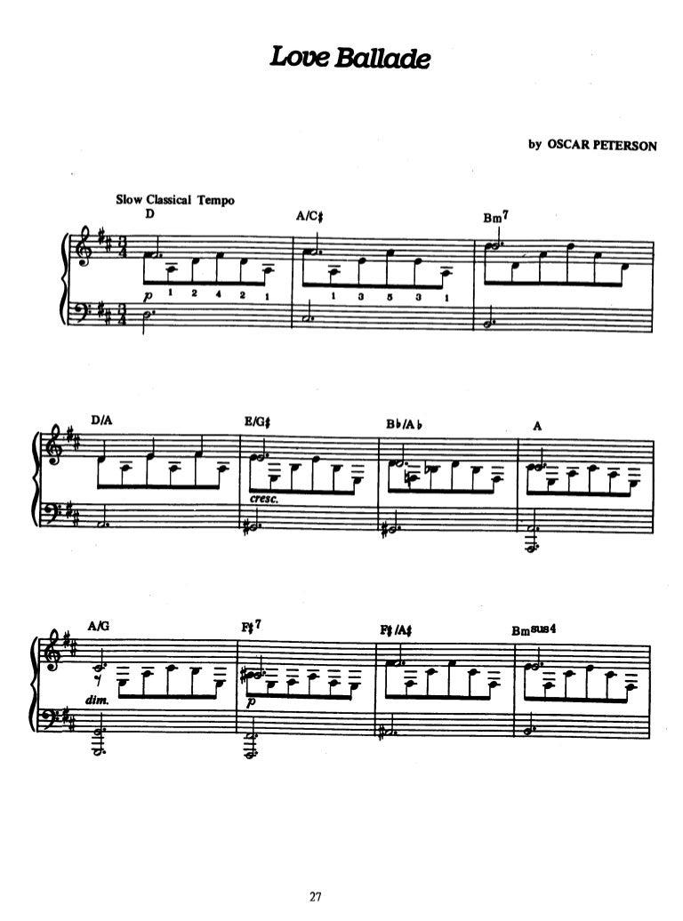 Love Ballade Oscar Peterson Piano Diagram With Notes