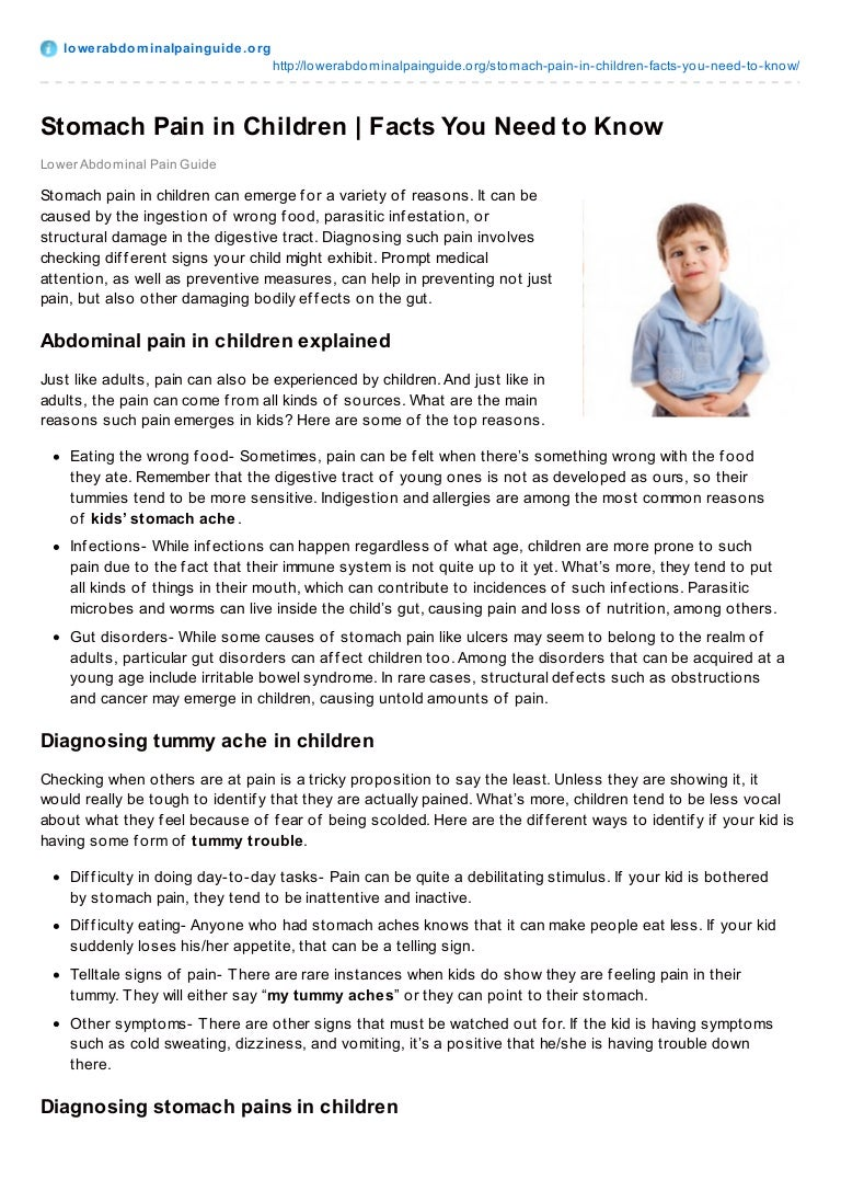 Abdominal pain in children of different ages