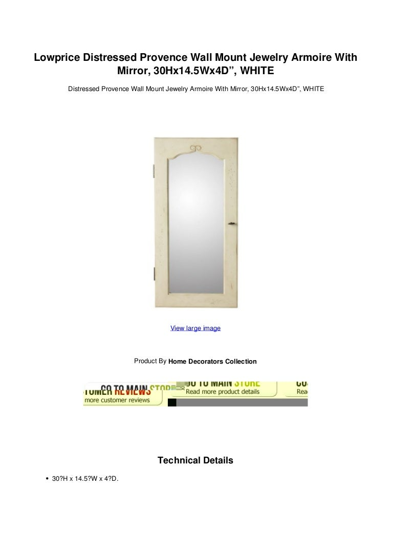Lowprice Distressed Provence Wall Mount Jewelry Armoire With Mirror 3