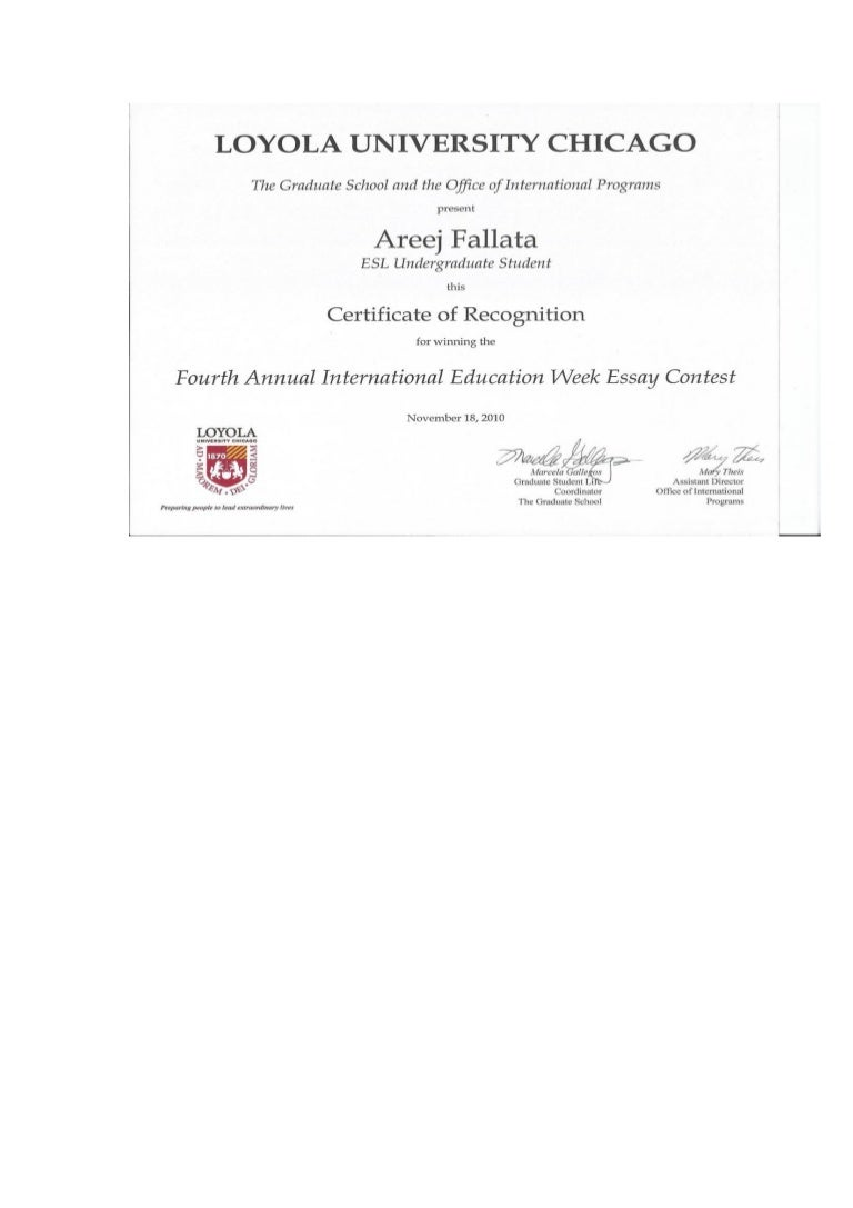 loyola essay loyola university certificate of recognition areej a  loyola university certificate of recognition areej a darweesh fall
