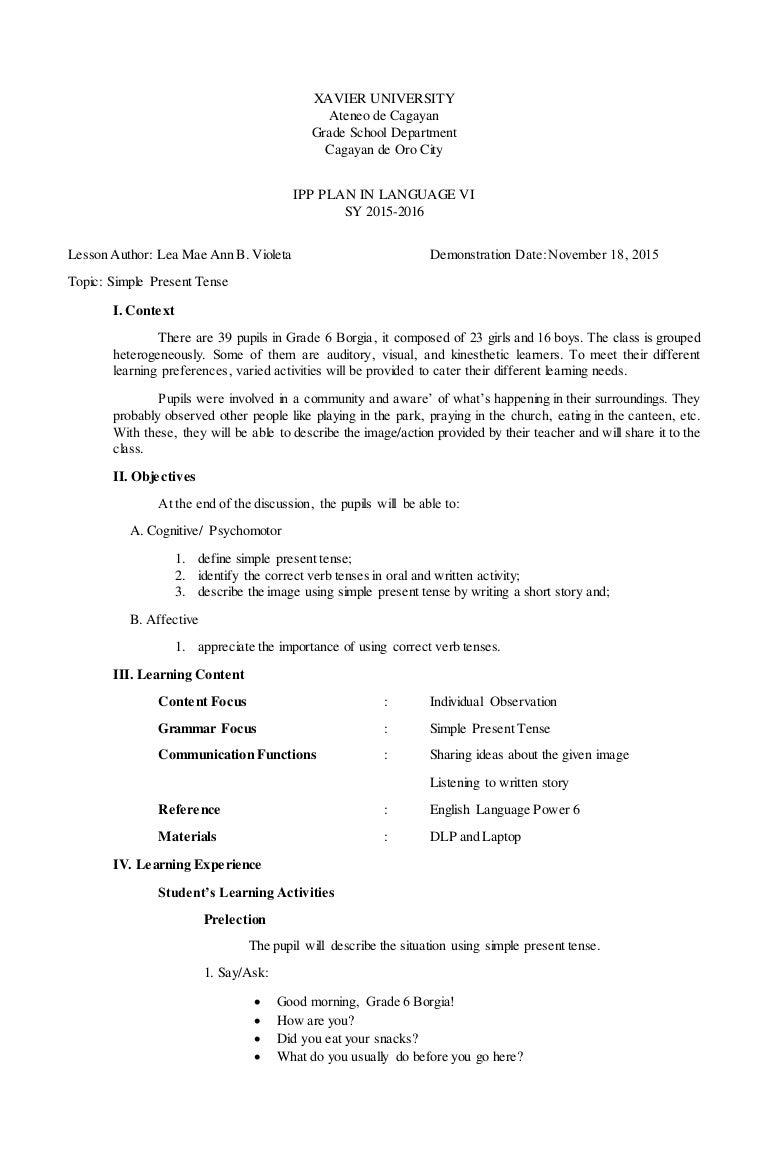 worksheet Correct Verb Tense Worksheet simple present tense ipp lesson plan