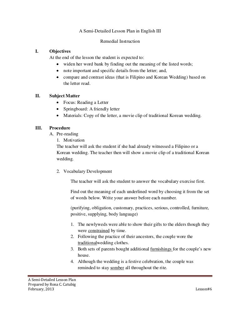 Semi Detailed Lesson Plan On Reading Letter