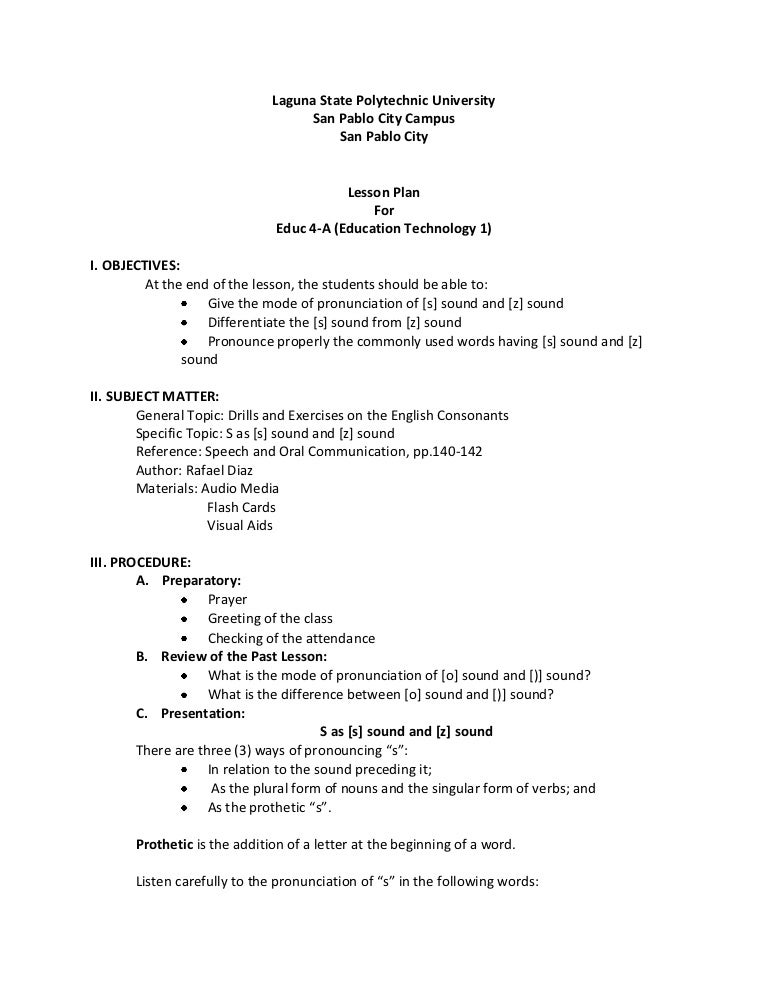 semi detailed lesson plan s sound and z sound