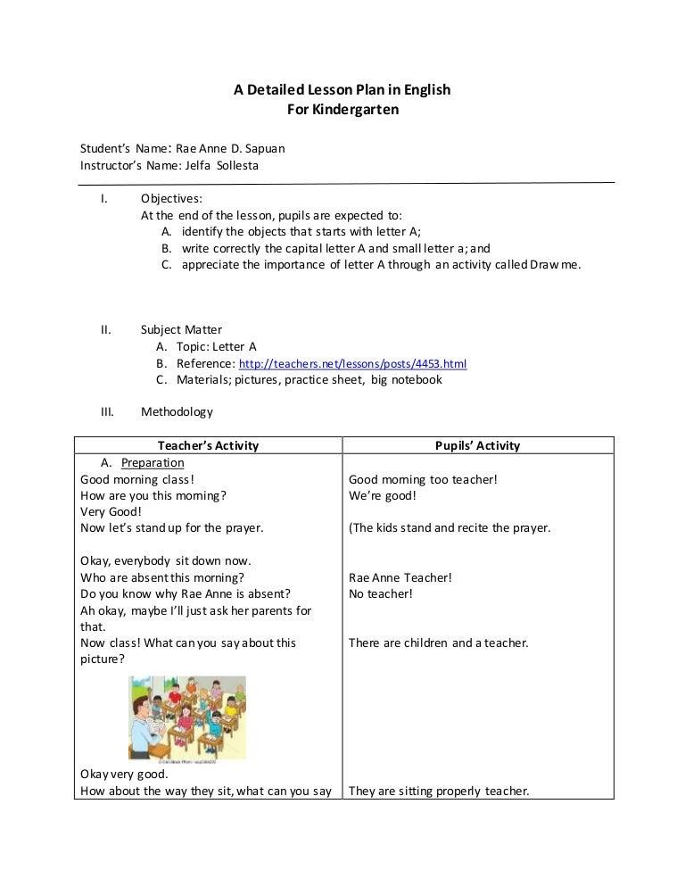 Lesson Plan Format For Kindergarten Dolapgnetband