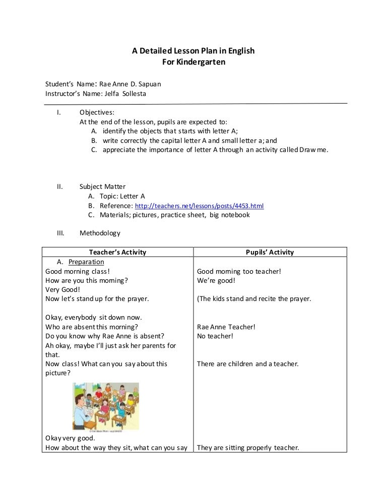 Detailed Lesson Plan In English For Kindergarten