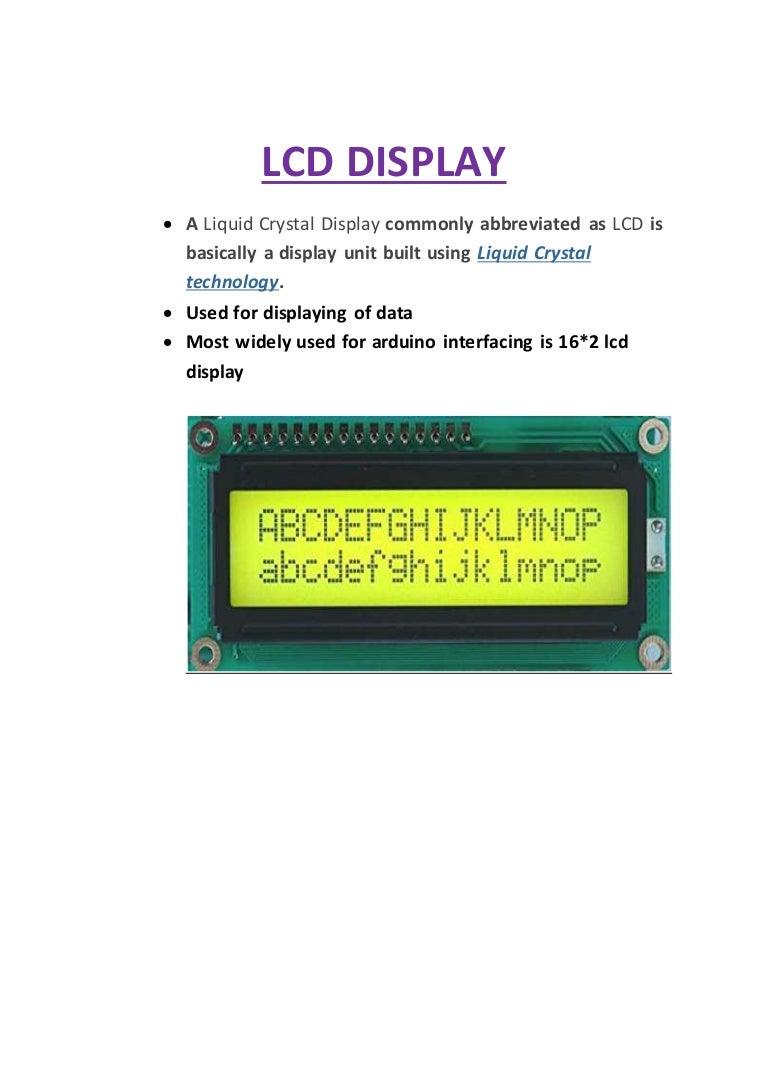 Arduino Lcd Display Liquid Crystal