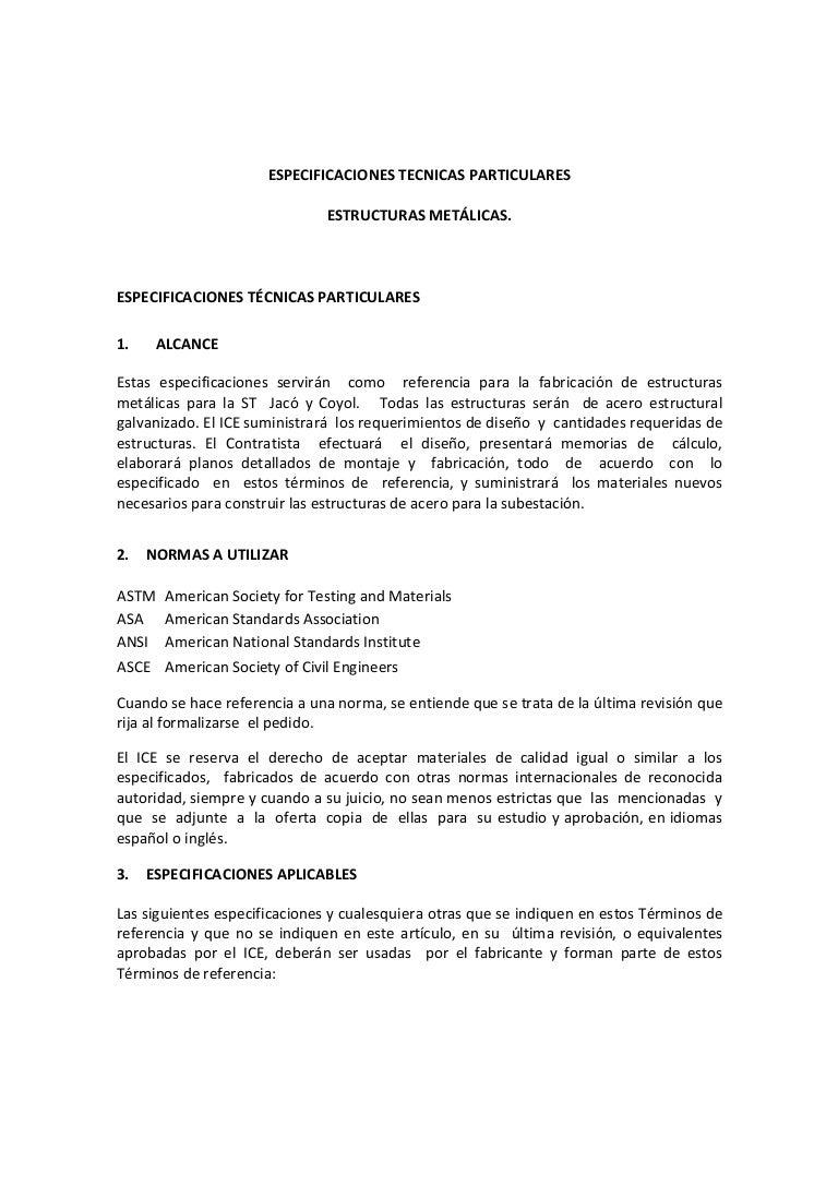 Especificaciones Tecnicas Particulares Estructuras Metálicas