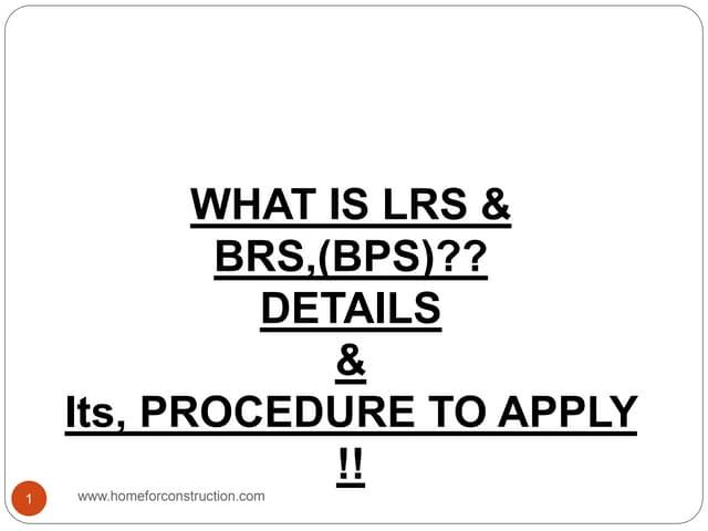 Lrs,Brs scheme details,hyderabad,Telangana