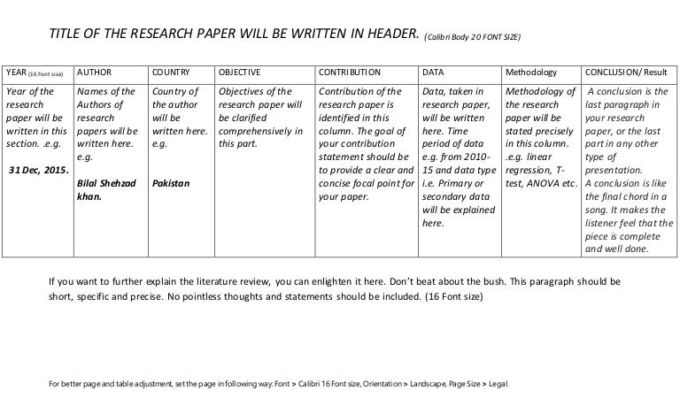 Literature Review Table How To Write A Research PaperS Review