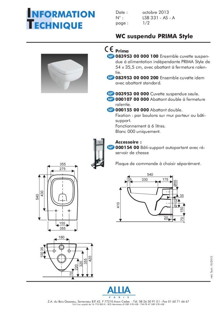 Changer Une Cuvette De Wc fiche technique wc suspendu prima style par allia salle de bains