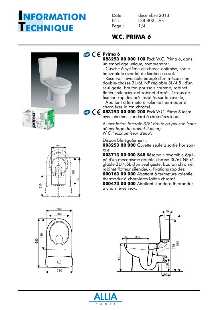 Un Toilette Ou Une Toilette fiche technique pack wc prima 6 par allia salle de bains