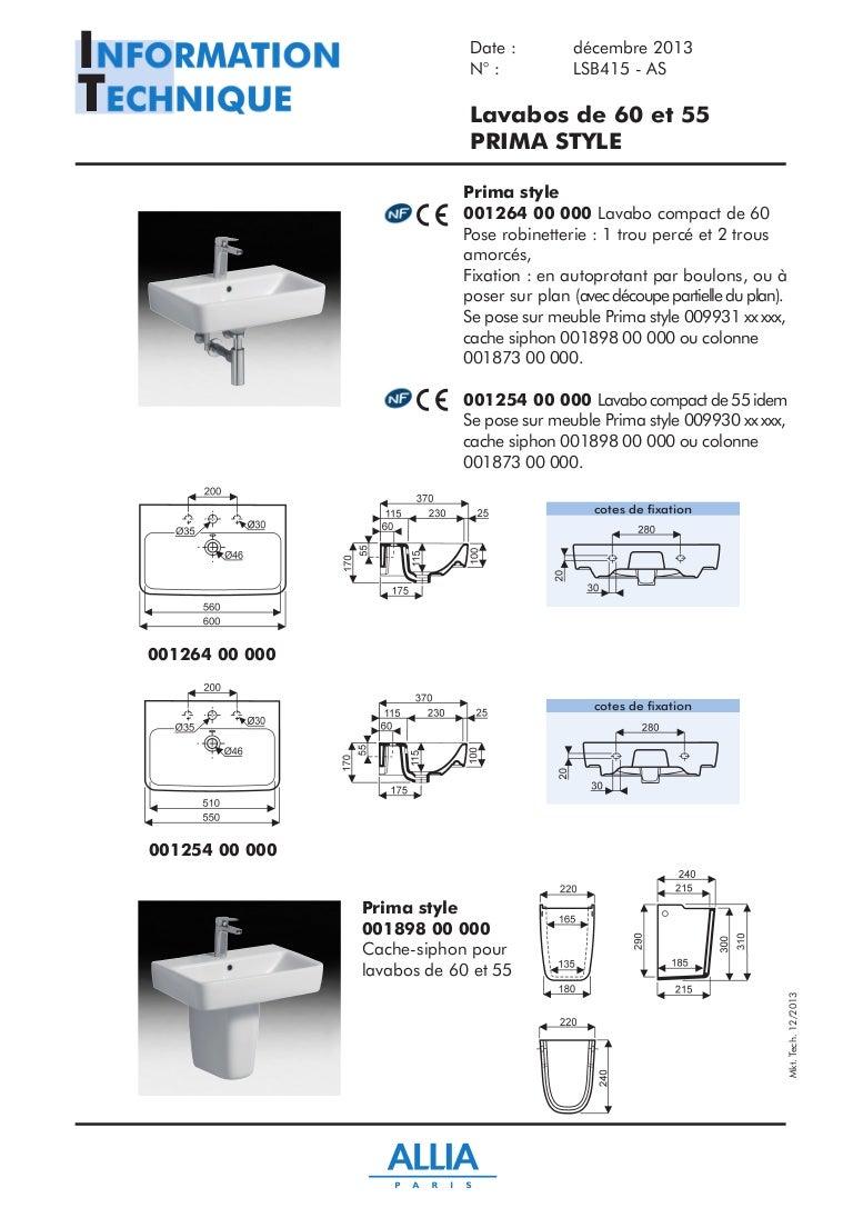 fiche technique lavabos de 60 et 55 cm prima style par. Black Bedroom Furniture Sets. Home Design Ideas
