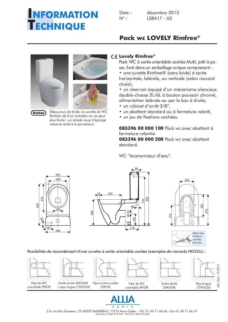 fiche technique pack wc lovely rimfree par allia salle de. Black Bedroom Furniture Sets. Home Design Ideas