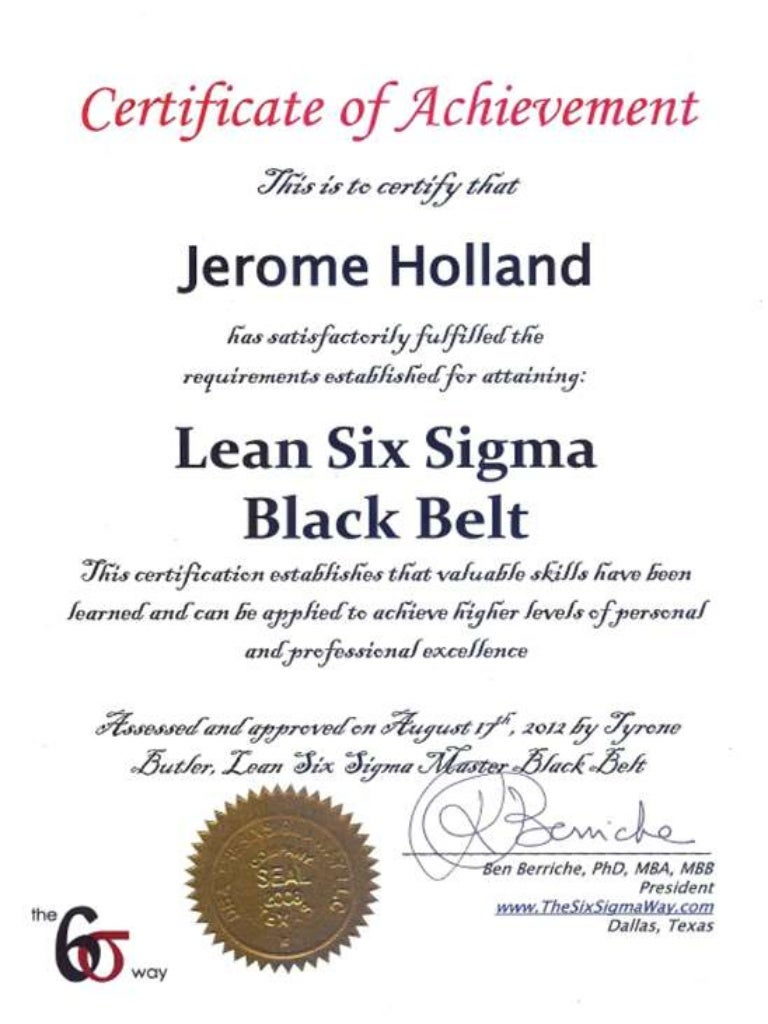 Lean six sigma black belt certificate xflitez Choice Image