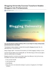 Blogging University - Transforming Beginners Into Professional Bloggers