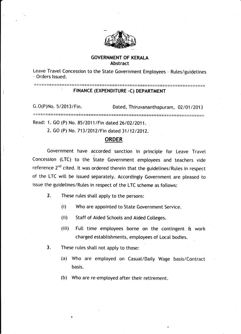 Kerala-Leave Travel Concession for Govt. Employees- GO(P) 5/2013