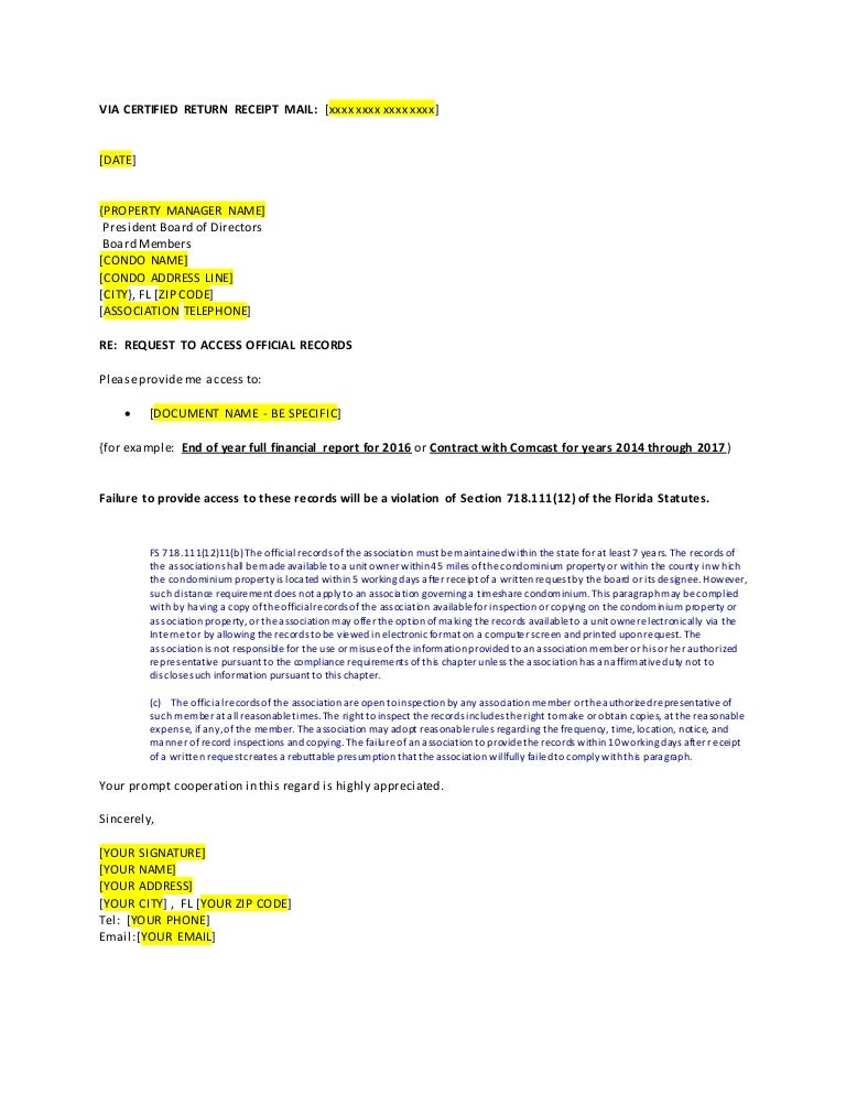 Template Letter to request access to Official Records from your Condo…
