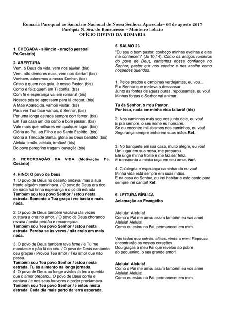 Ofício Divino da Romaria - Paróquia N. Sra. do Bonsucesso - Monteiro lobato - SP