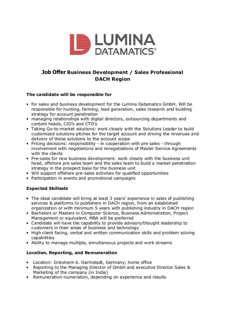 Job Offer Business Development Sales Professional