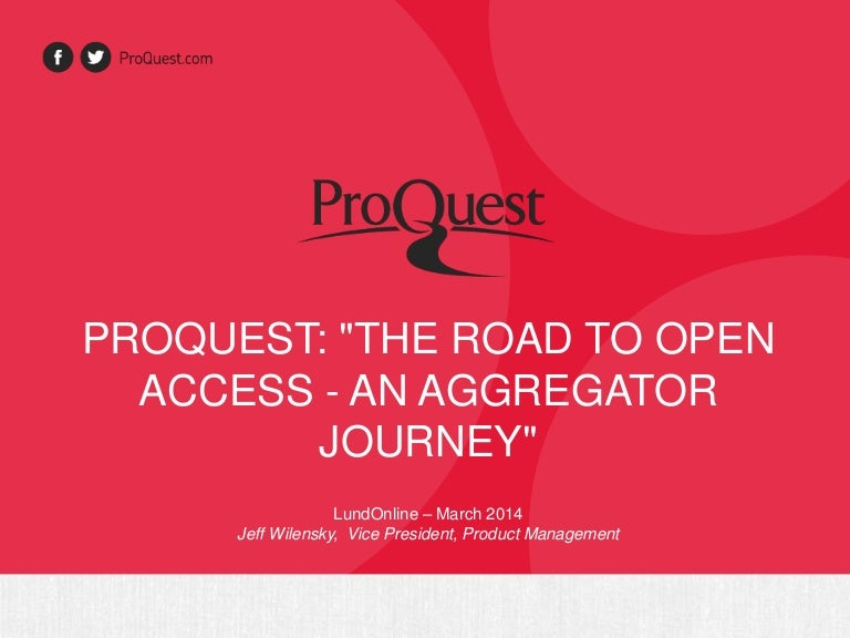 proquest the road to open access an aggregator journey lundonline