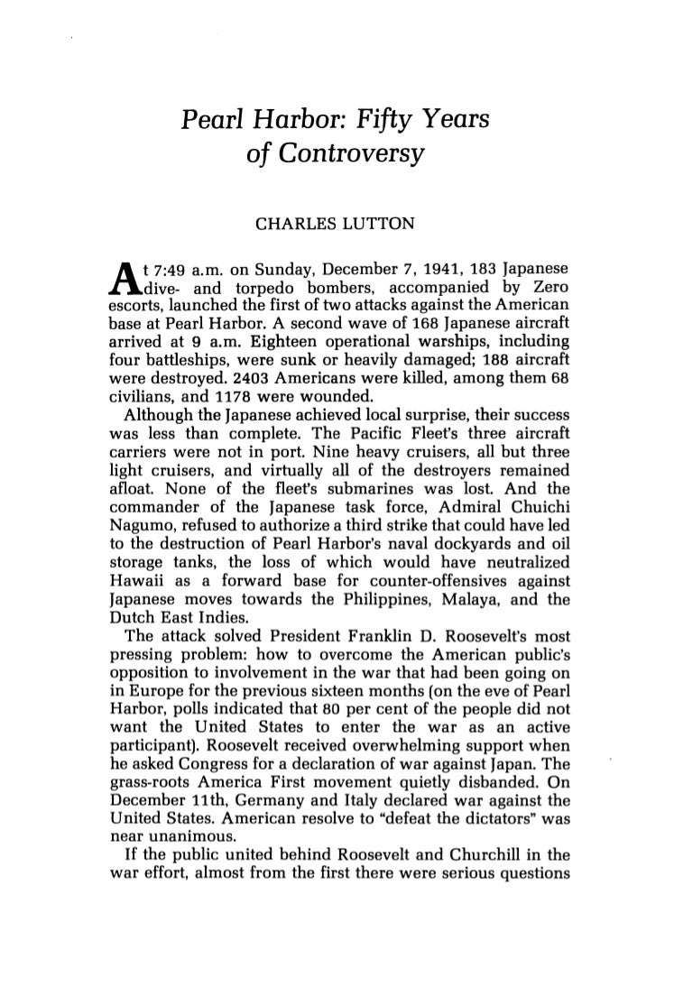 lutton charles pearl harbor fifty years of controversy journal