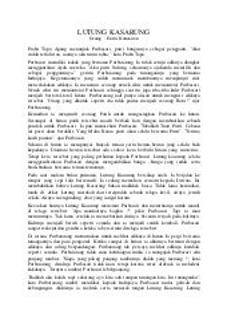 Cerpen Bahasa Jawa Lutung Kasarung