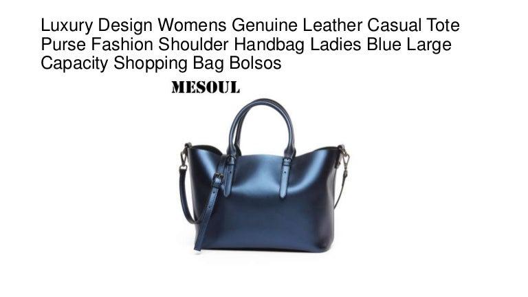 7f9ddb46c2d2 Luxury design womens genuine leather casual tote purse fashion shoulder handbag  ladies blue large capacity shopping bag bolsos