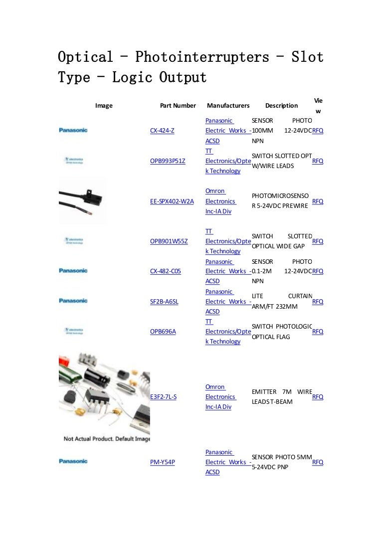 Optical Photointerrupters Slot Type Logic Output Sensors Tran Slotted Opto Switch