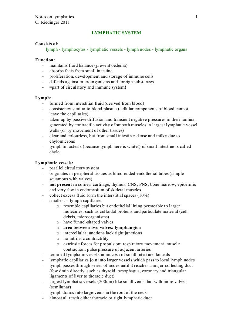 Workbooks lymphatic system worksheets : Notes on the Lymphatic System