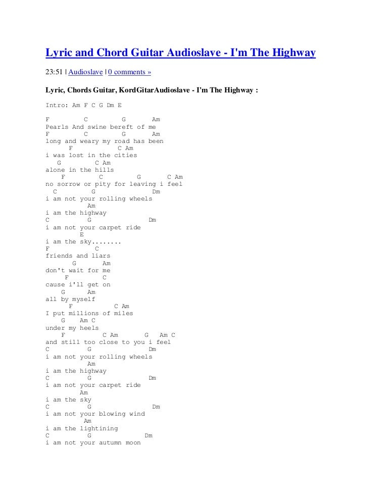 Lyric and chord guitar audioslave