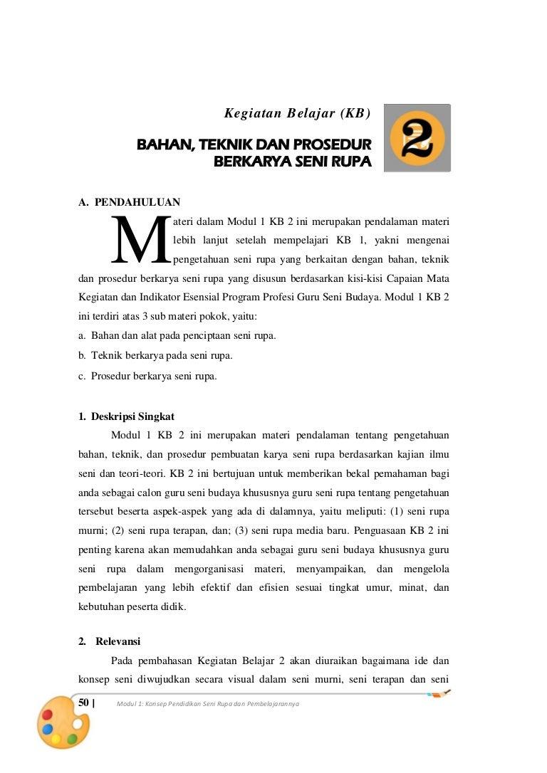 Materi 1 KB1 Bahan Teknik Dan Prosedur Berkarya Seni Rupa