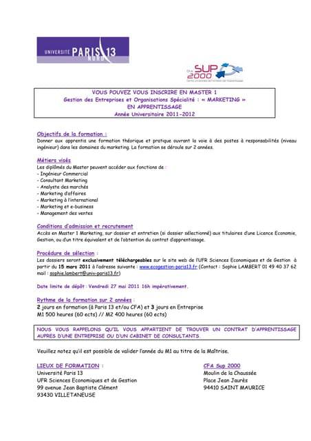 """Master 1 & 2 Marketing """"Gestion des entreprises et des organisations"""" - Université Paris 13 - CFA SUP 2000"""