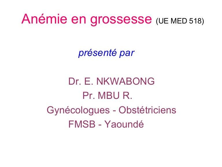 anemie 8 grossesse