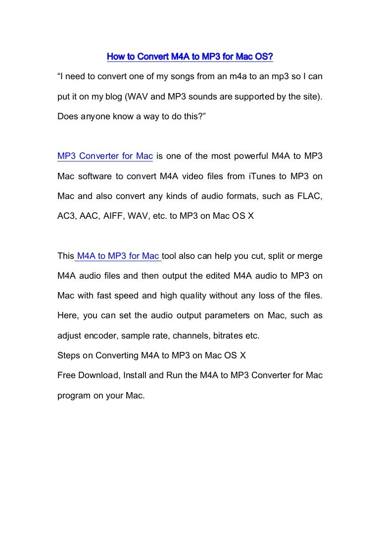 M4a to mp3 converter for mac